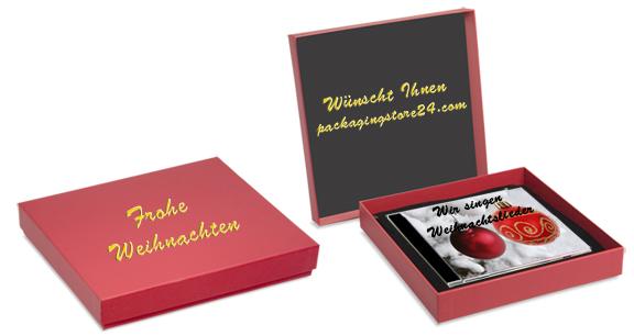 Individuell bedruckte Geschenkverpackung mit einer CD für Weihnachten